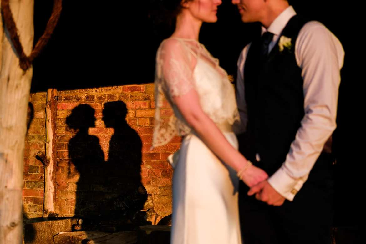 A shadow silhouette with the married couple