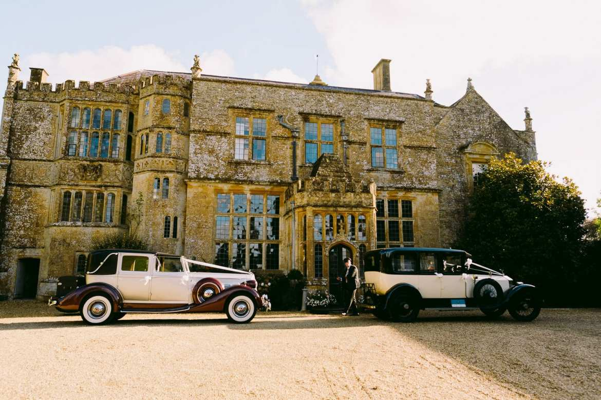 The wedding cars outside Brympton House