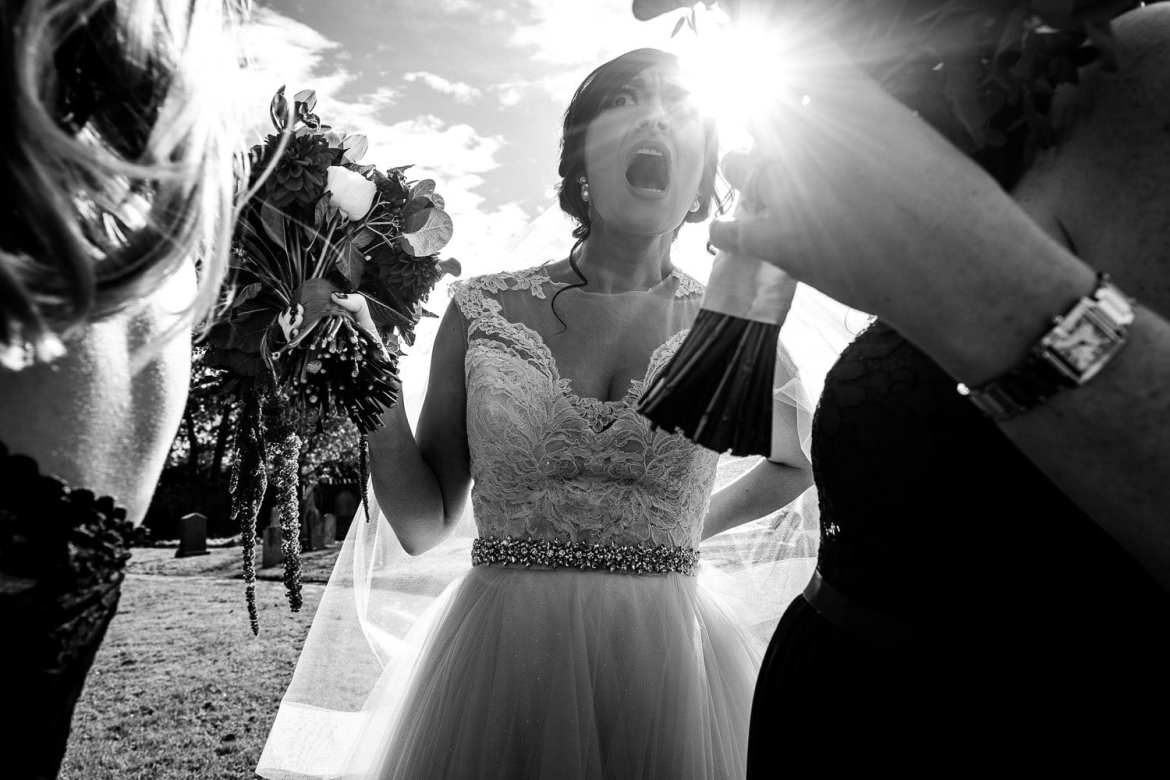 Someone steps on the bride's dress