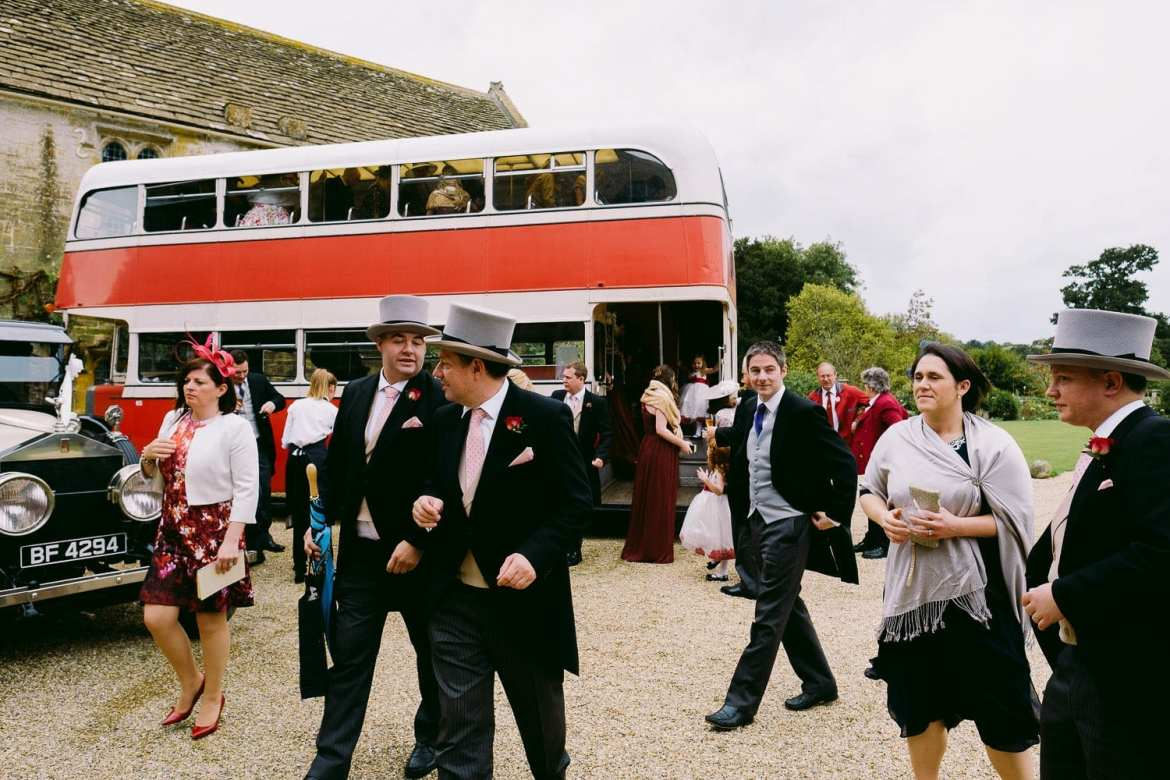 The wedding guests arrive at Brympton House for the wedding reception