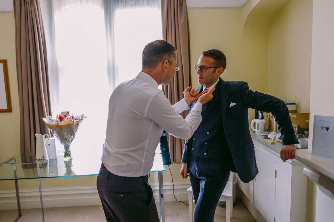 The grooms getting ready