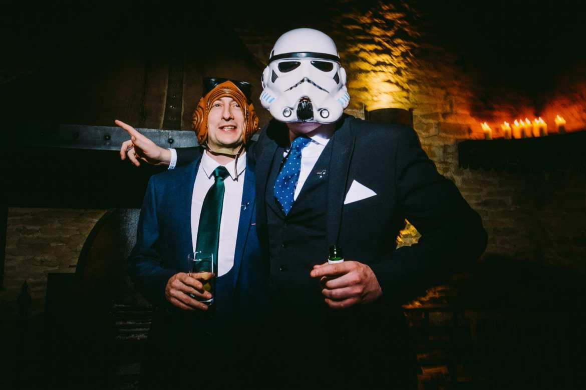 A Star Wars Storm trooper and a guest