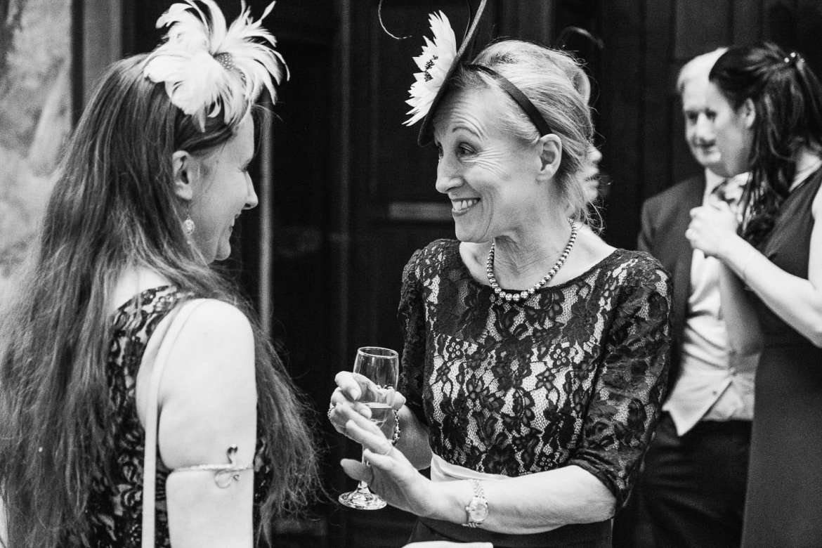 Guests having a laugh during the drinks reception