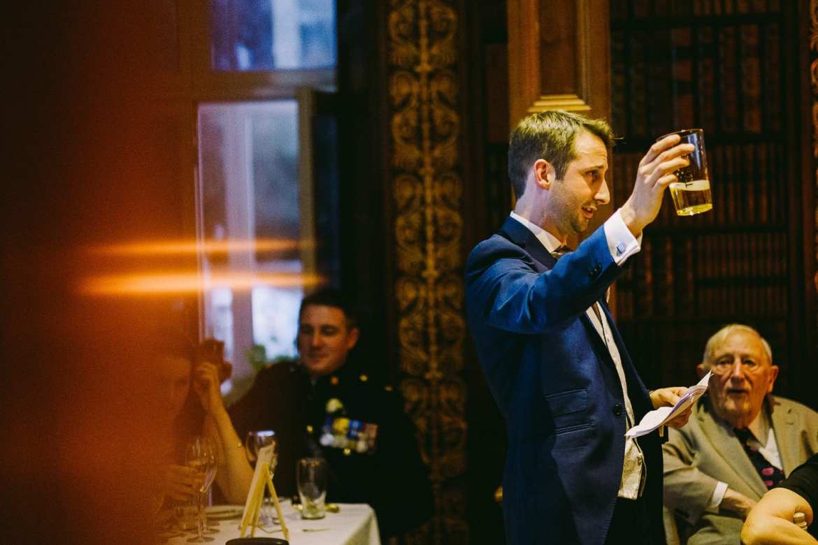 Best man raising a toast