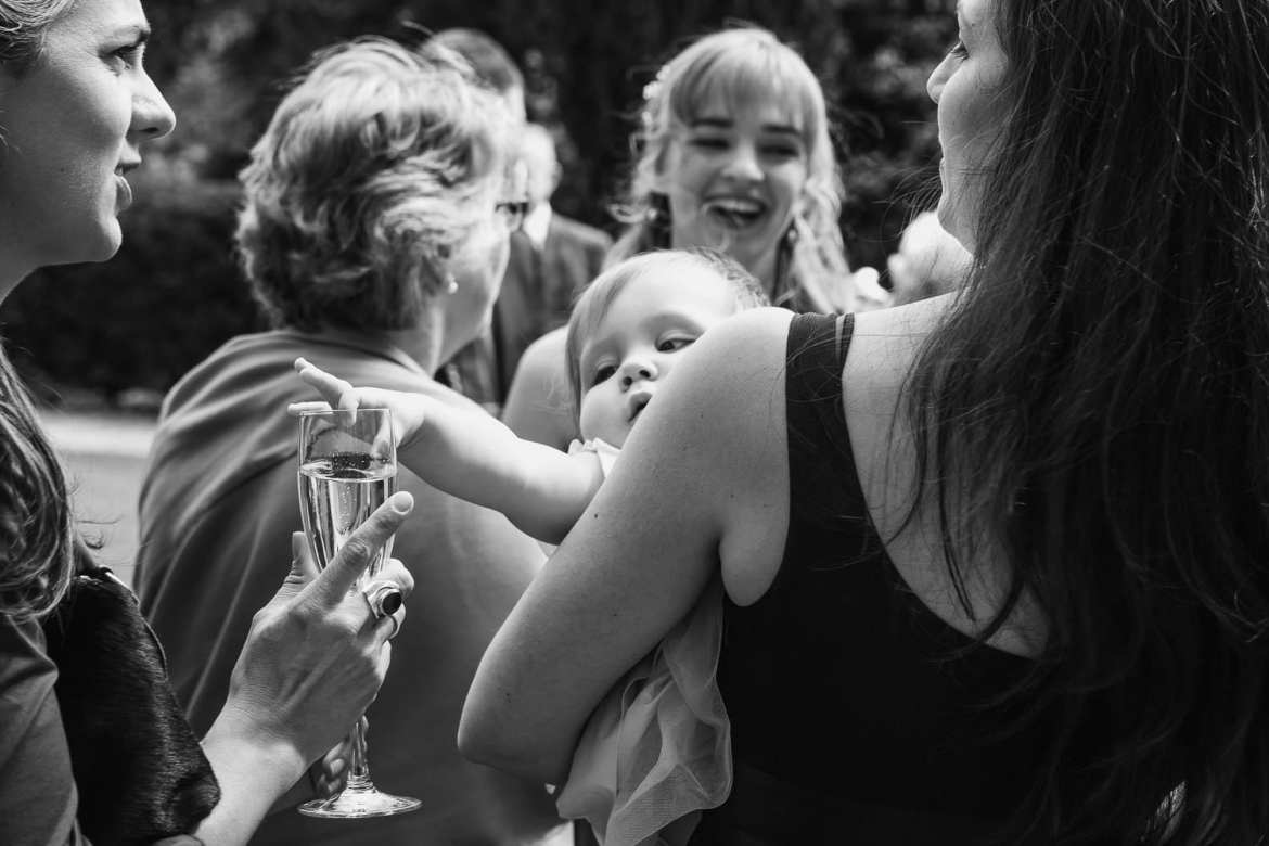 a baby reaches for the champagne