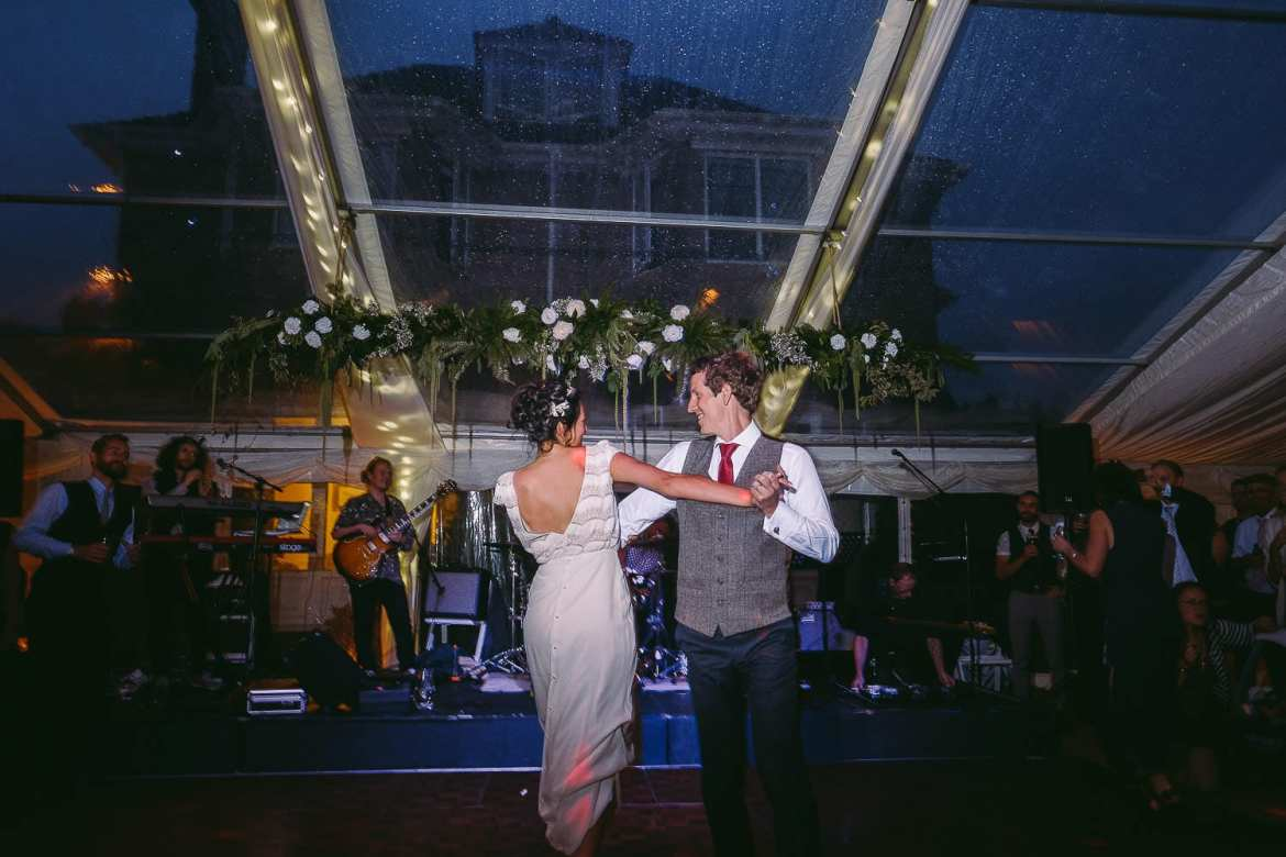 The first dance at a countryside wedding