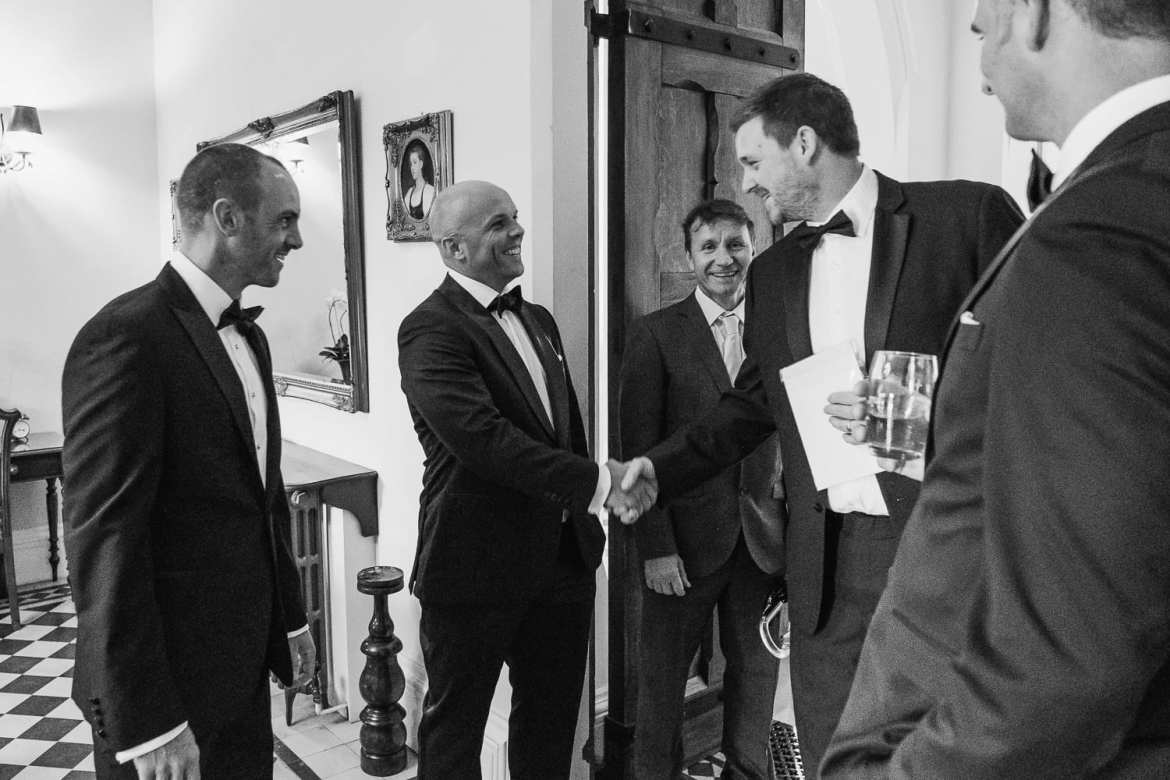 The groom and groomsmen at Stanbrook abbey