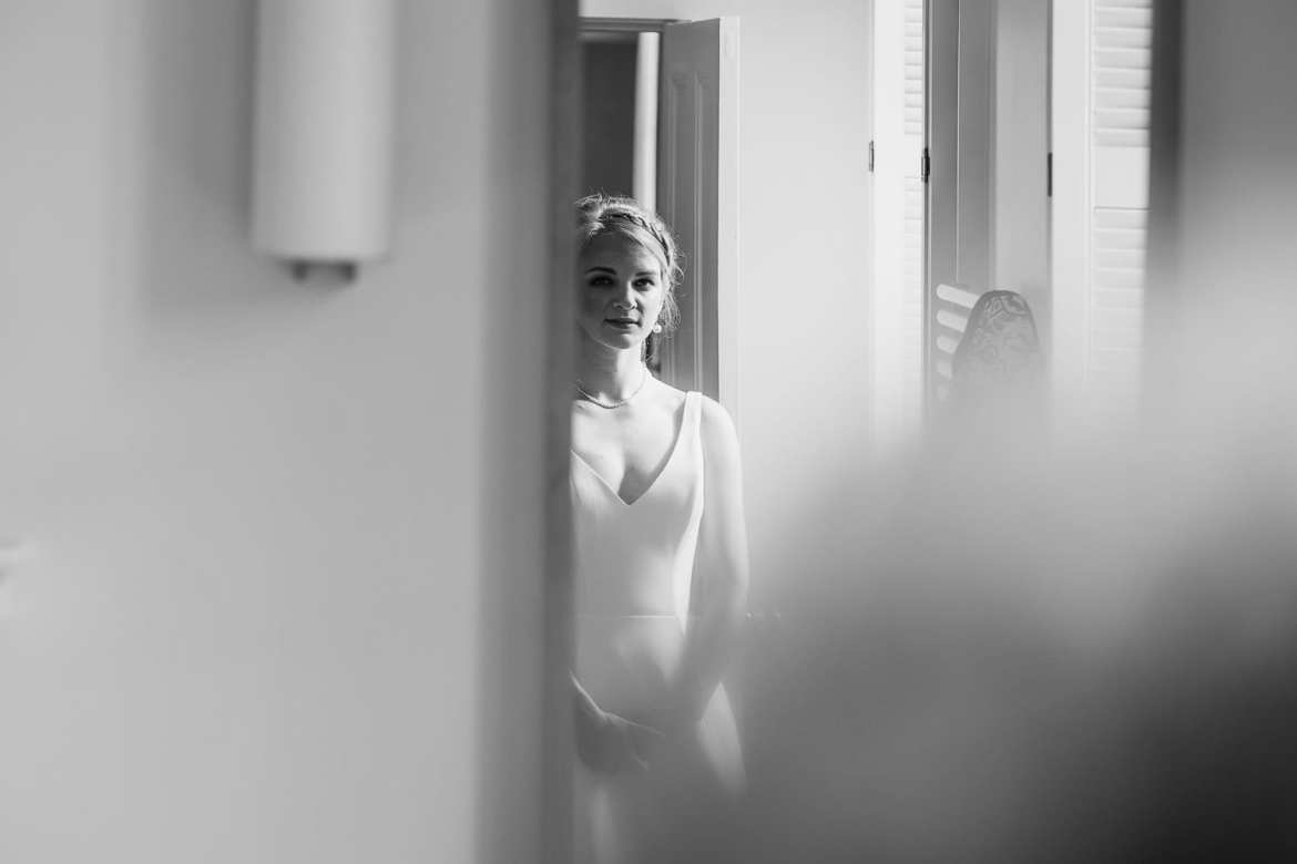 Bride in her wedding dress ready for ceremony
