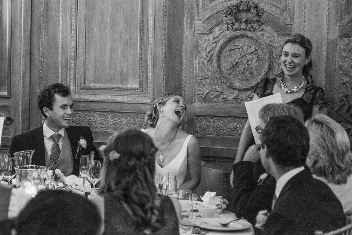 Bridesmaid doing a speech at Cowley Manor