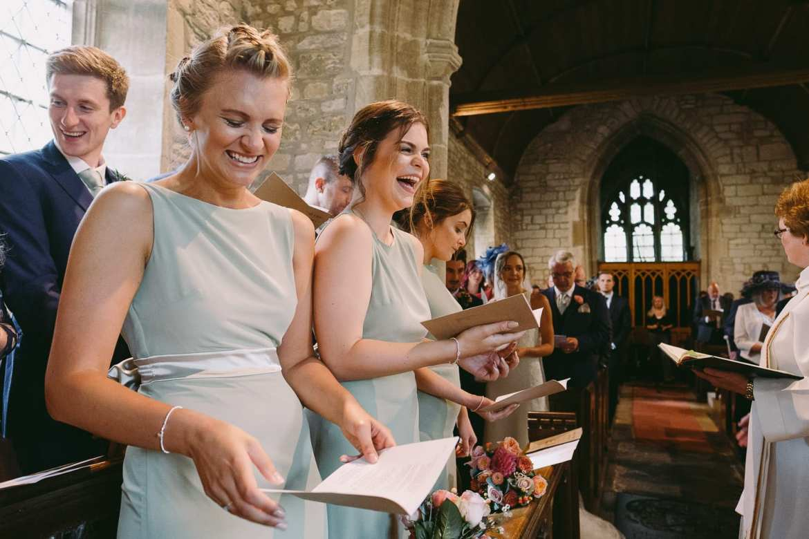 The bridesmaids get the giggles
