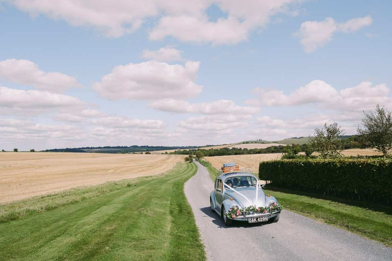 The wedding car arrives at Wellington Barn