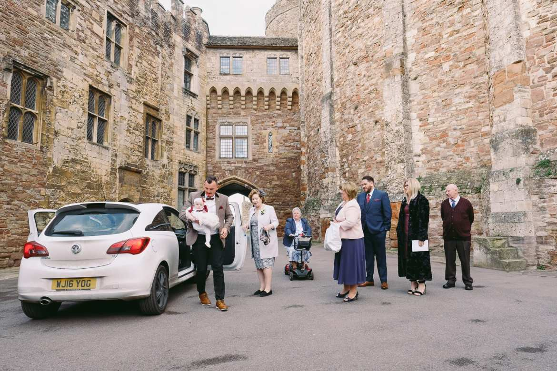 Wedding guests arrive at Berkley Castle