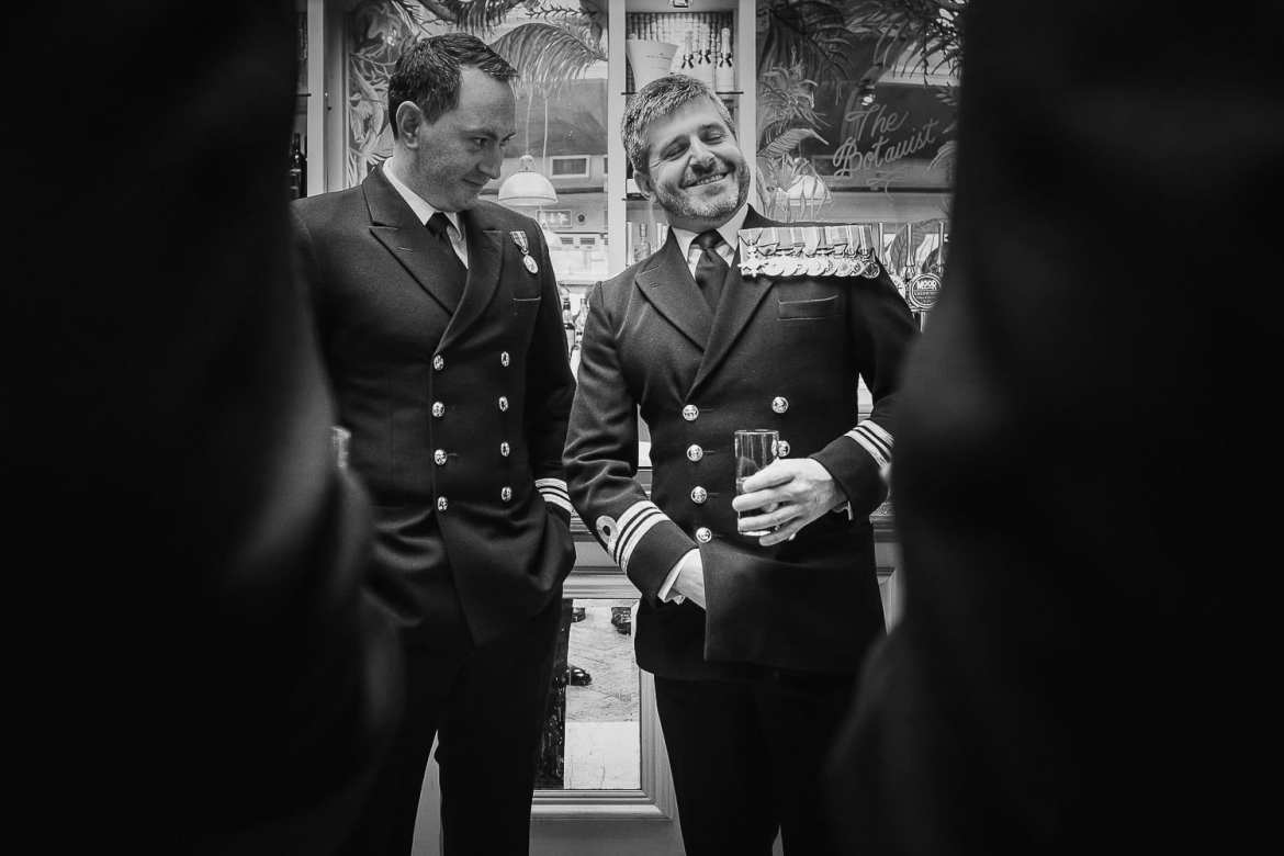 The best man and a guest with lots of medals