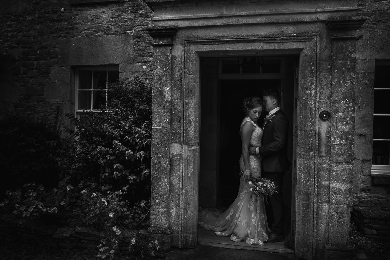 Bridal portrait at the Great Tythe Barn Tetbury