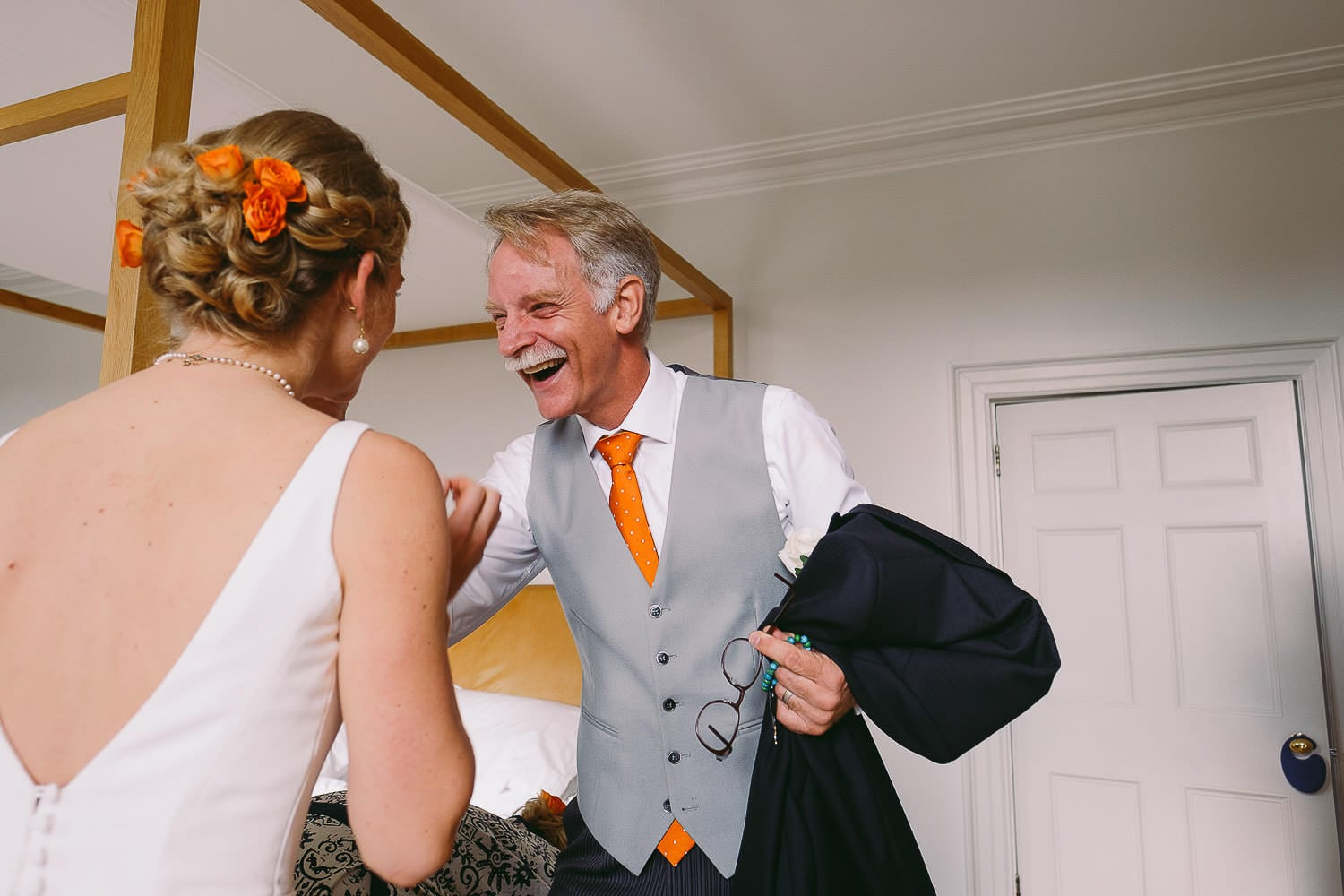 Father of the bride sees her for the first time