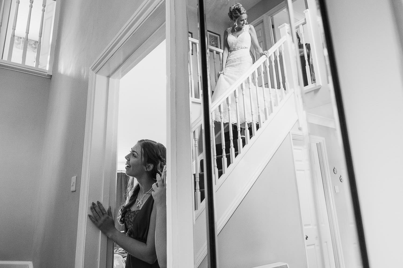 The bride makes an entrance