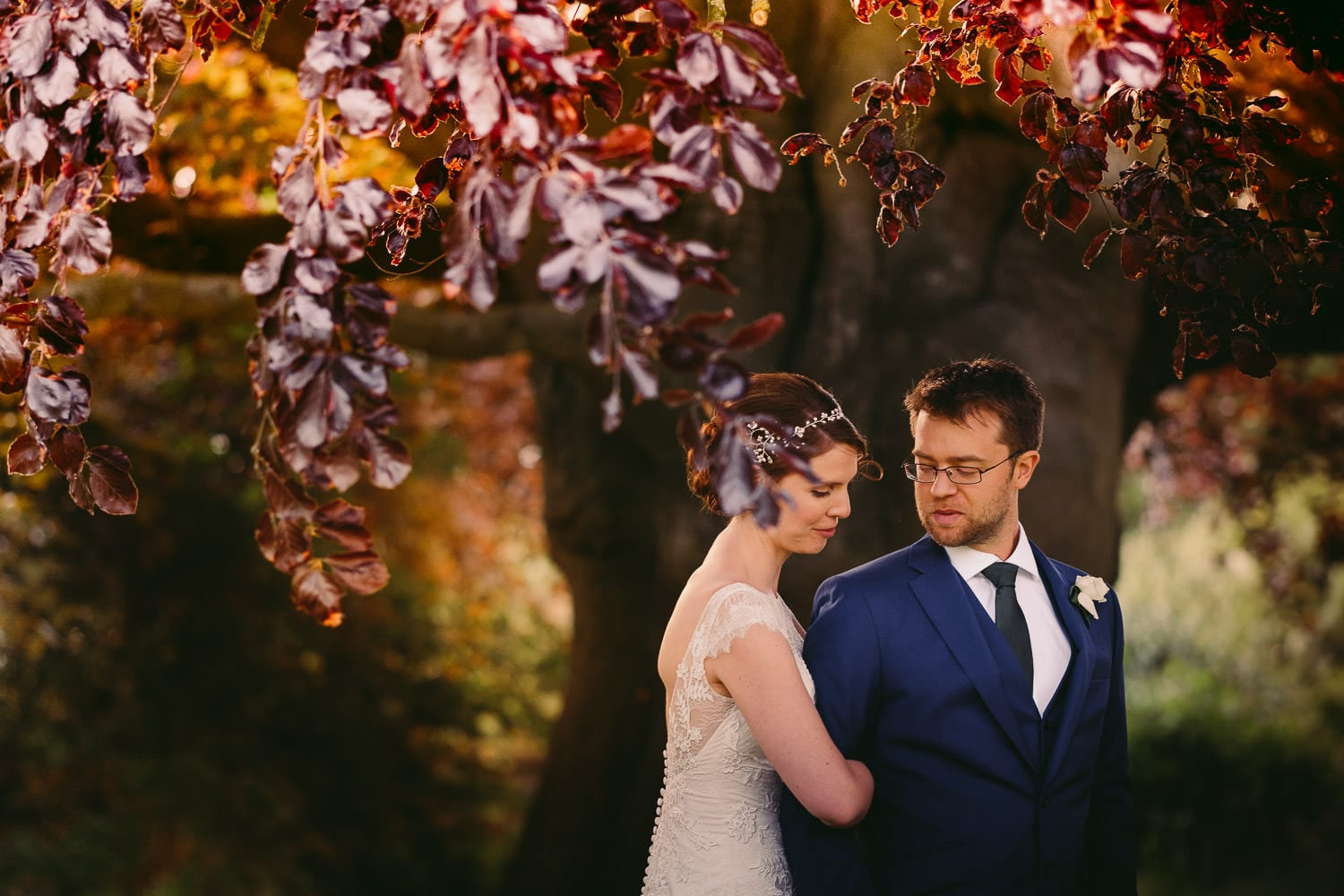 A portrait of the bride and groom at Elmore Court