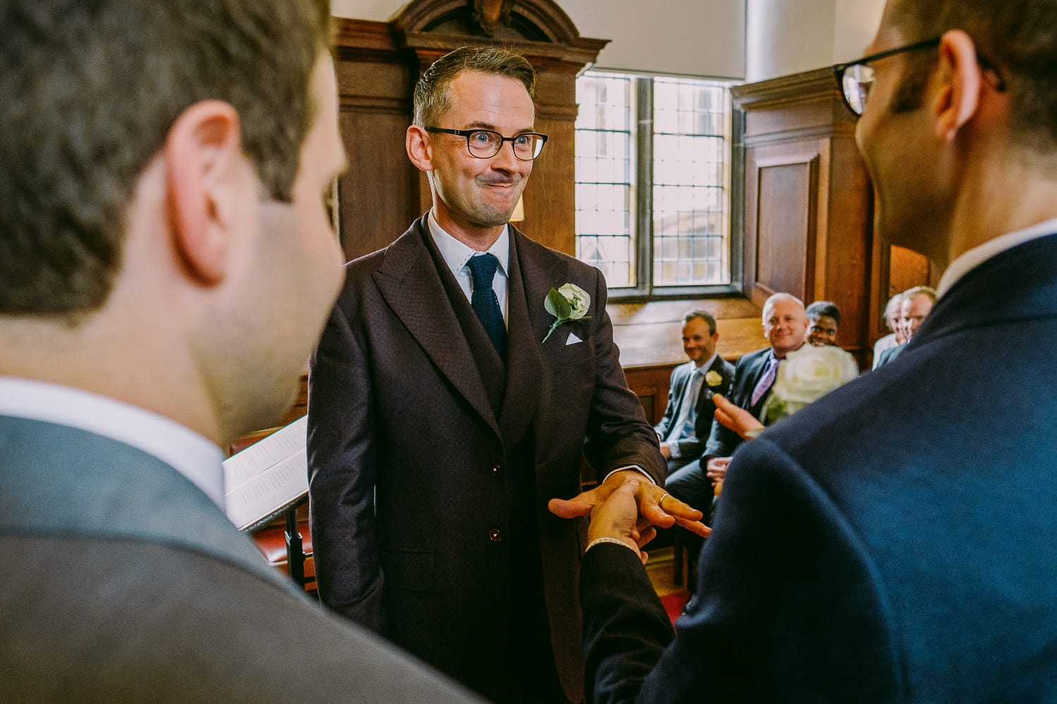 Same sex wedding ceremony at Pembroke college Cambridge