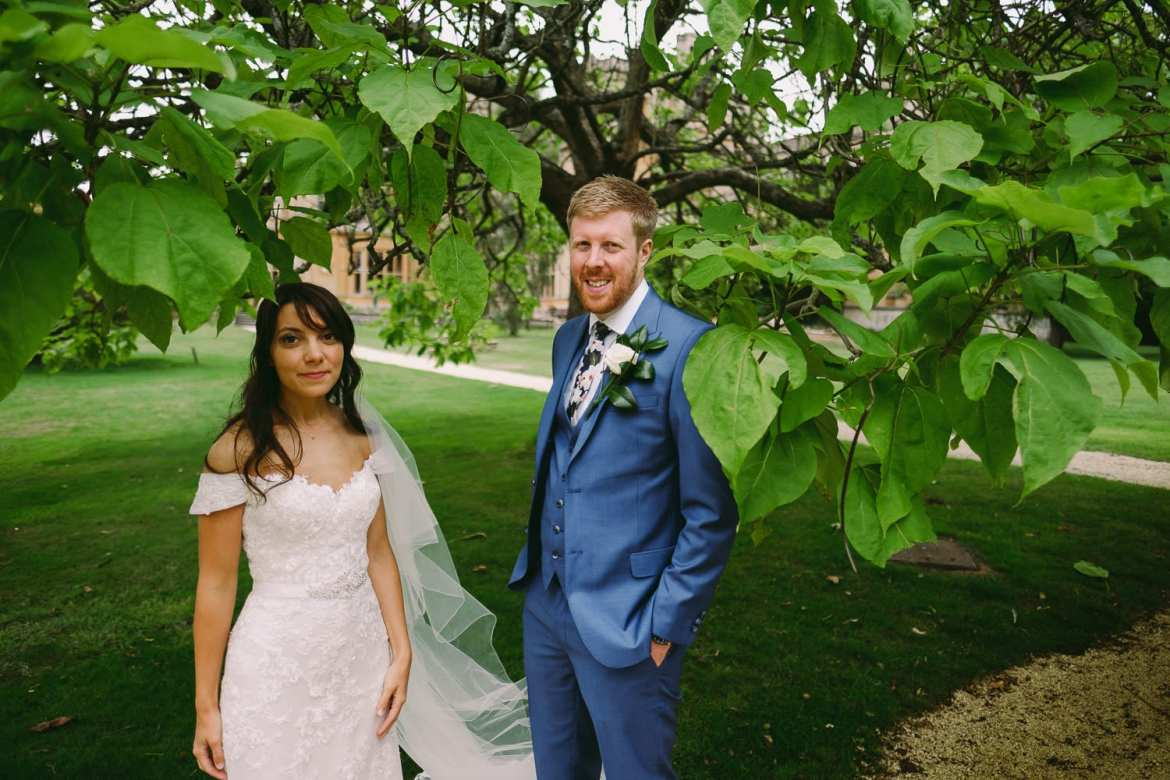 the newly weds under a tree