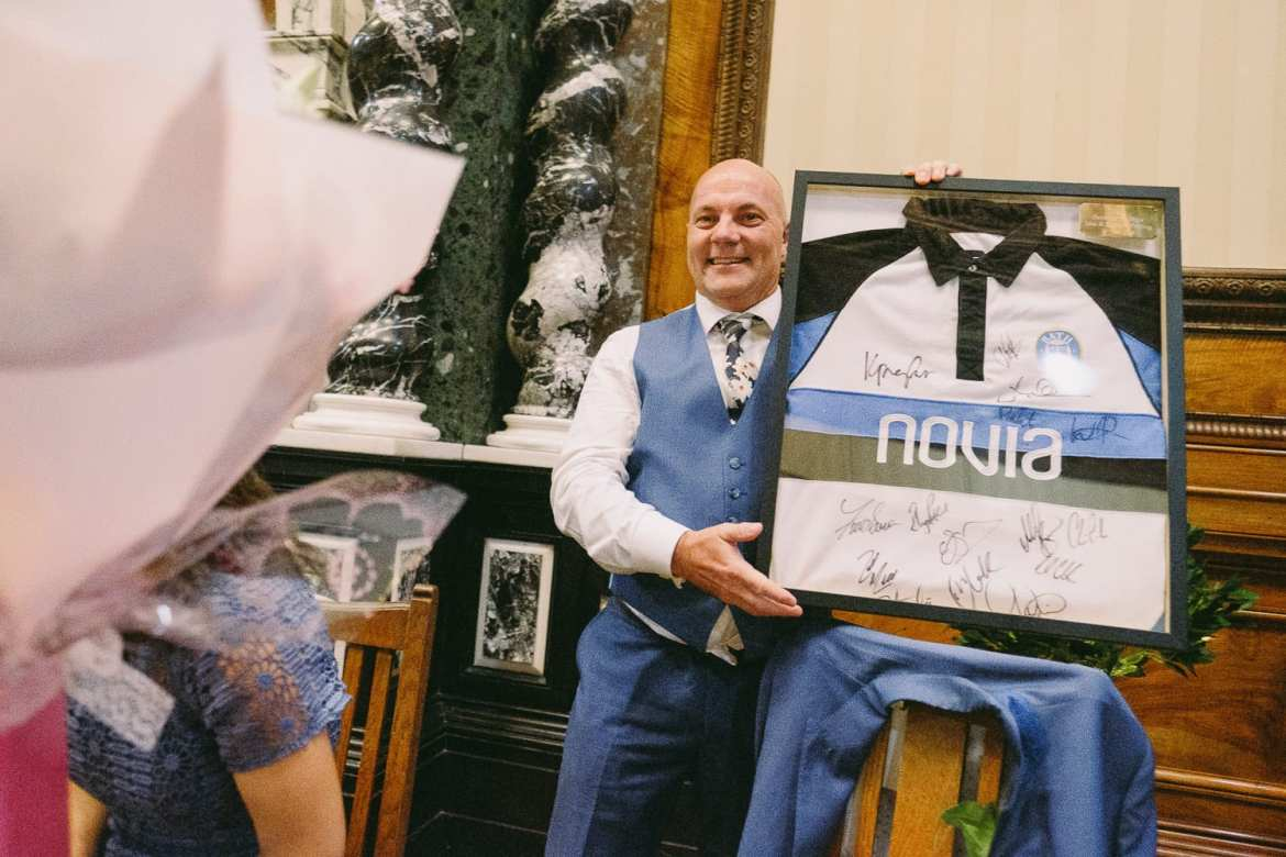 the father of the bride gets a signed rugby shirt
