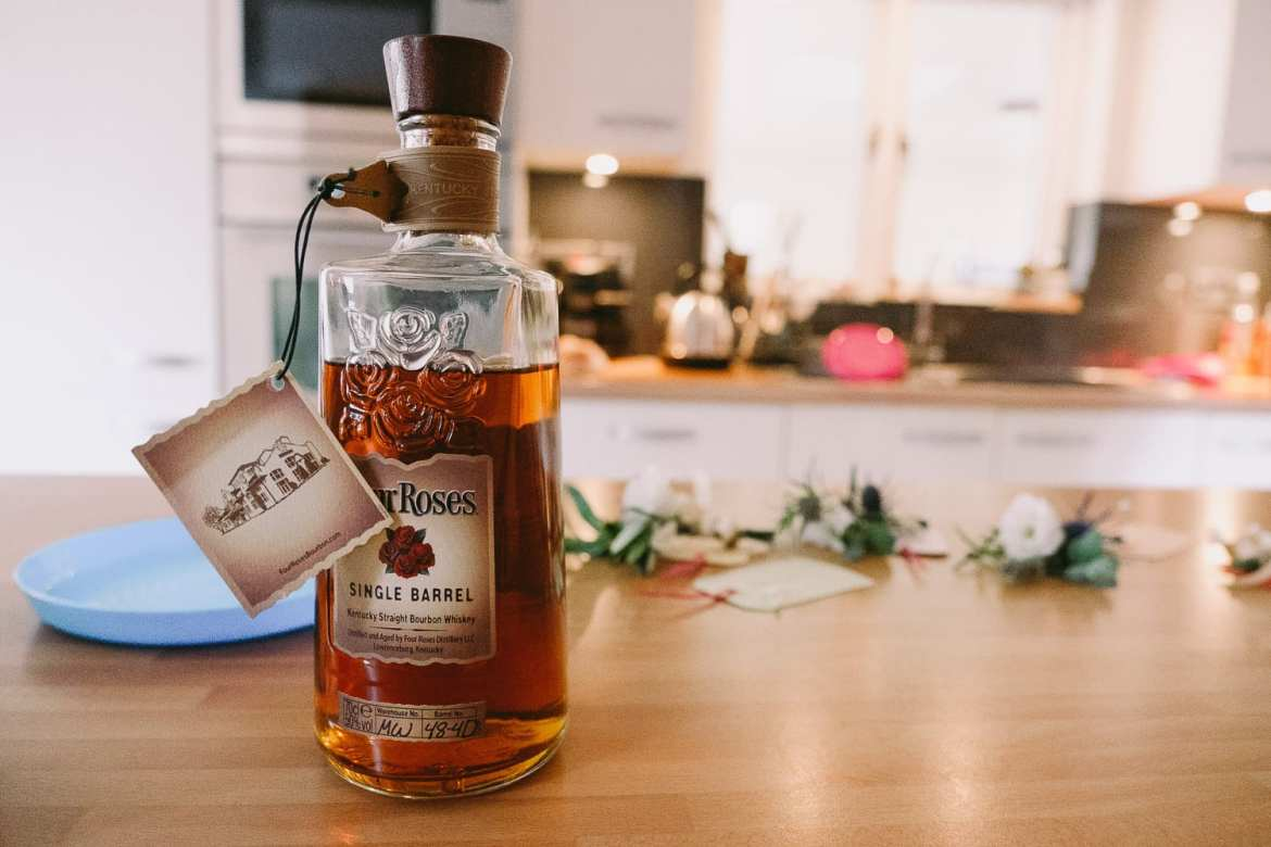A bottle of single barrel whisky for the groom on his wedding day