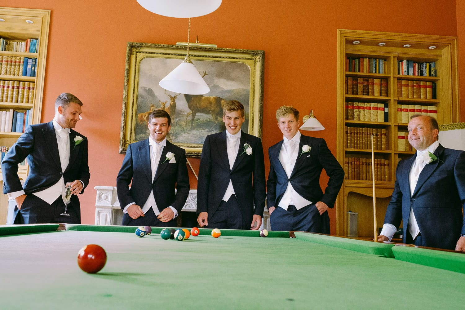 the groomsmen playing snooker