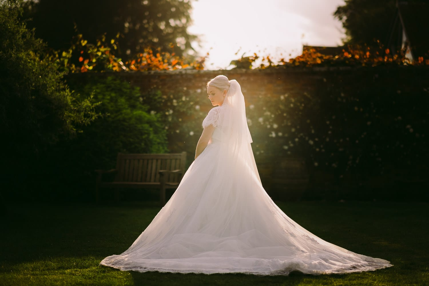 A bride in the sunset