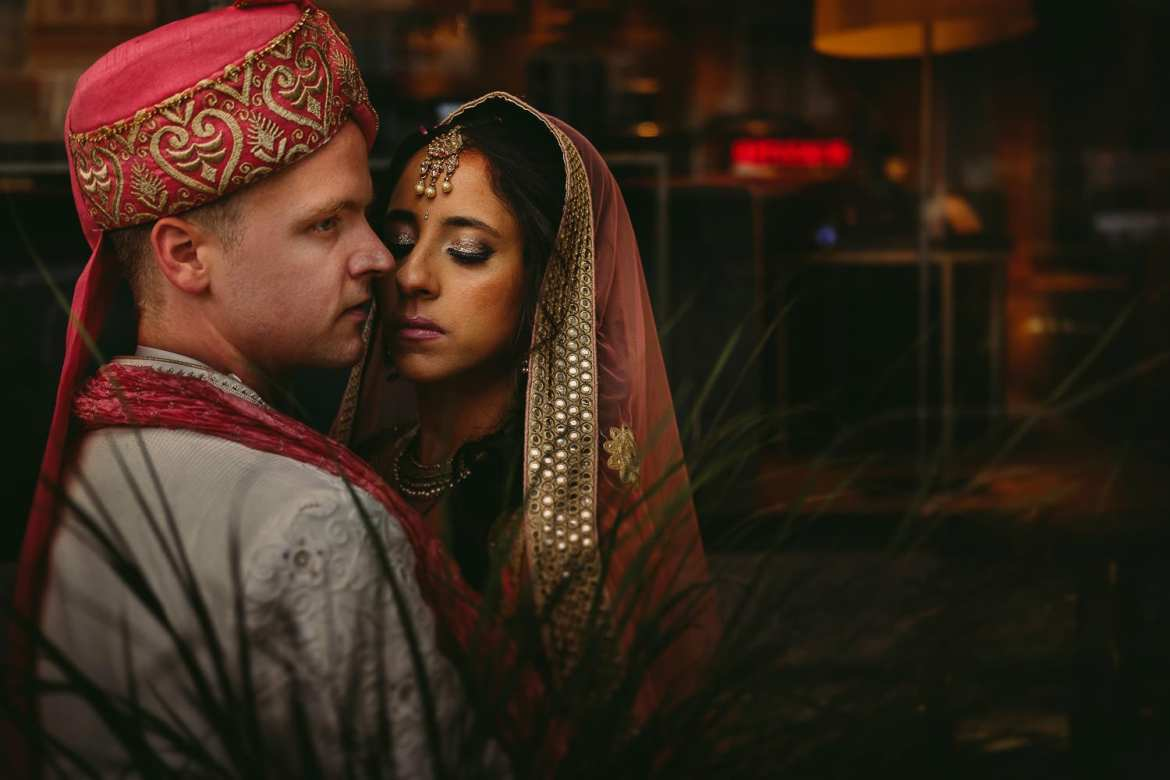 Beautiful portrait of the Indian bride and groom