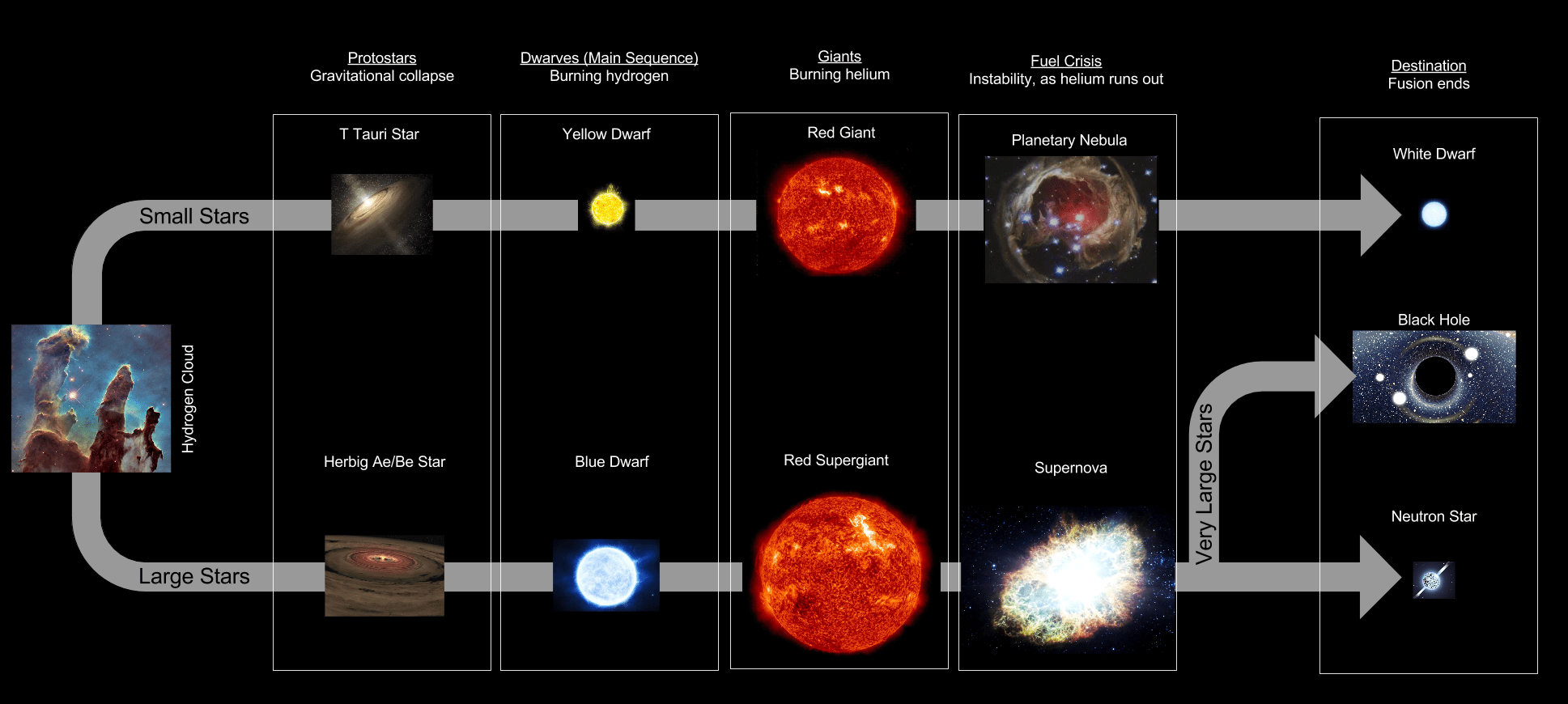 Stellar Evolution Flowchart