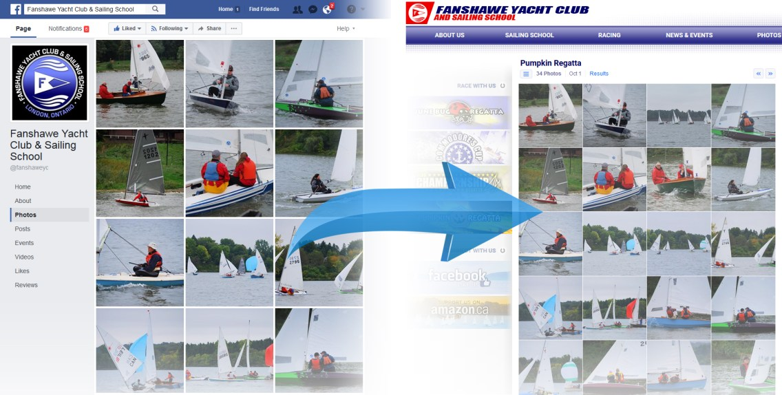 London Sailing Club Website - Photo Albums Synced with Facebook