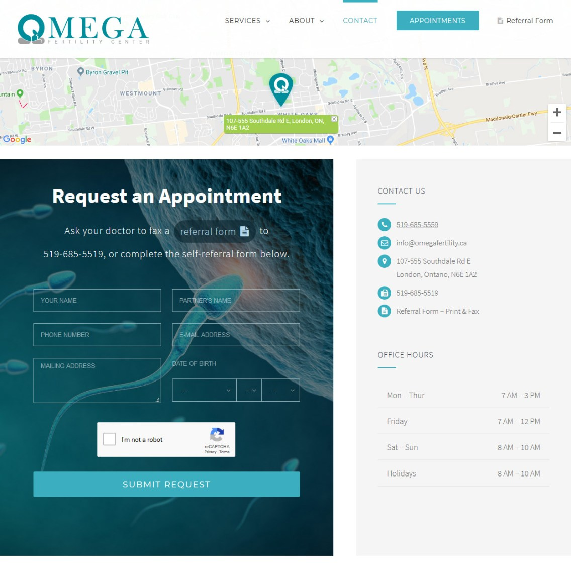 OMEGA Fertility Center Contact Referral Page