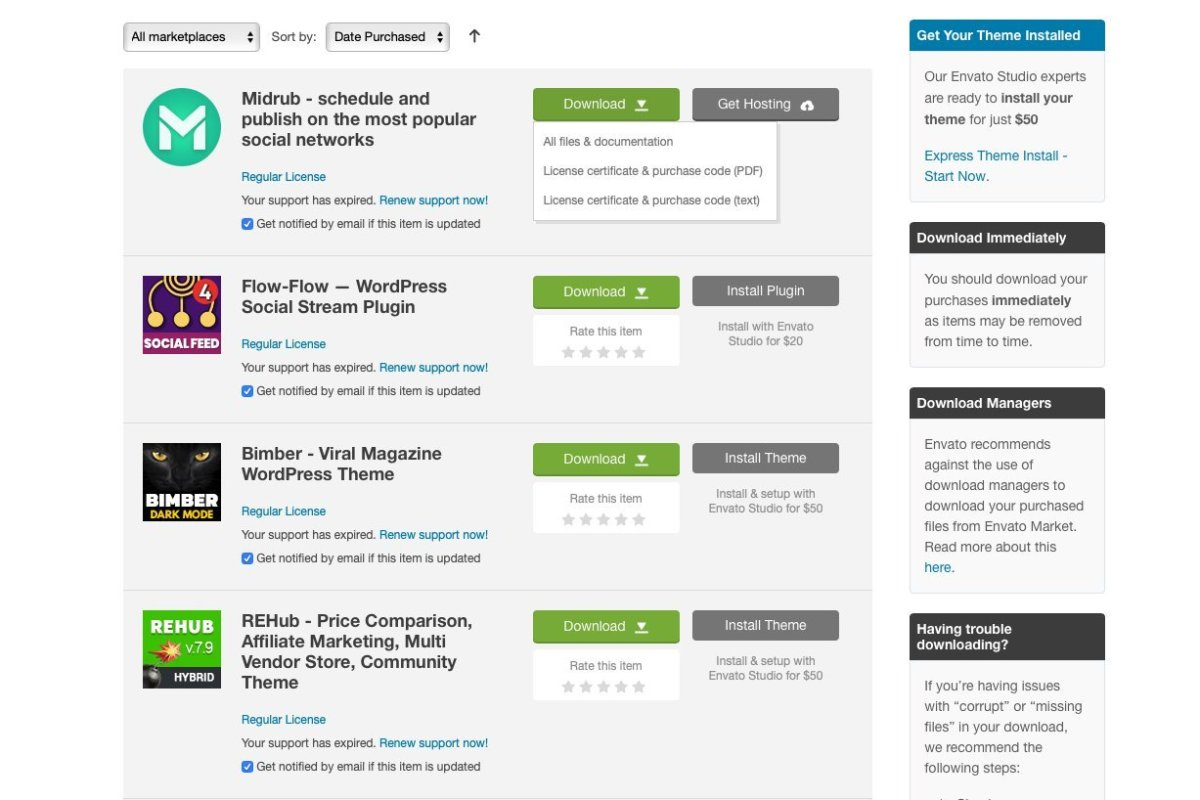 Como comprar no Themeforest, Envato e Codecanyon