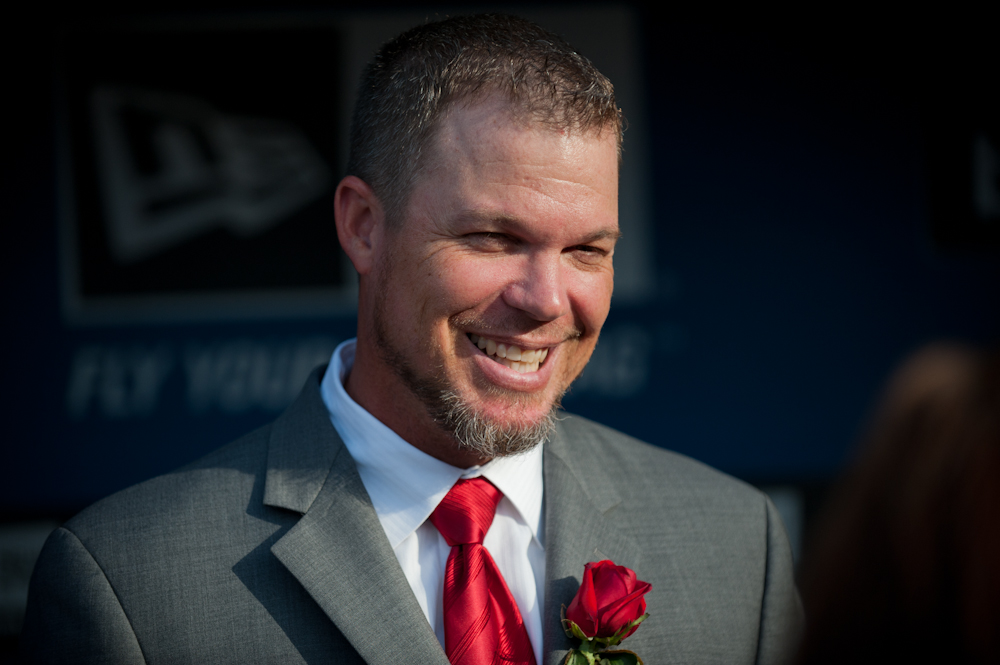 Former Atlanta Braves third baseman Chipper Jones during a ceremony retiring his number at Turner Field.
