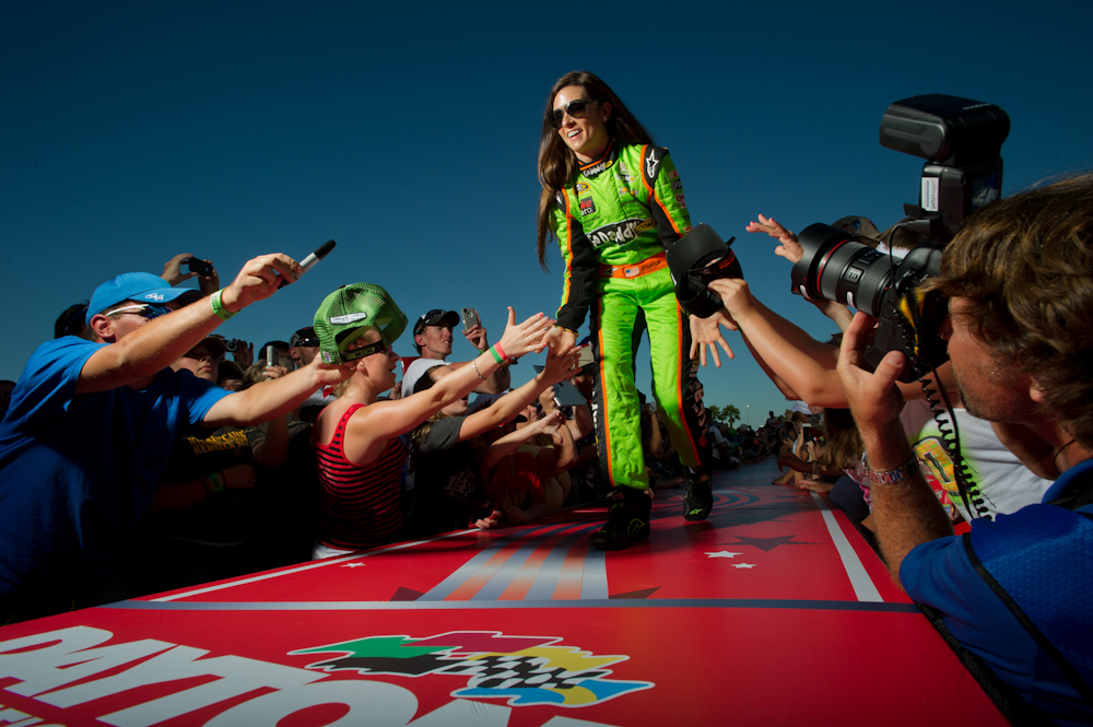 NASCAR Sprint Cup Series driver Danica Patrick (10) during driver introductions prior to the Coke Zero 400 at Daytona International Speedway.