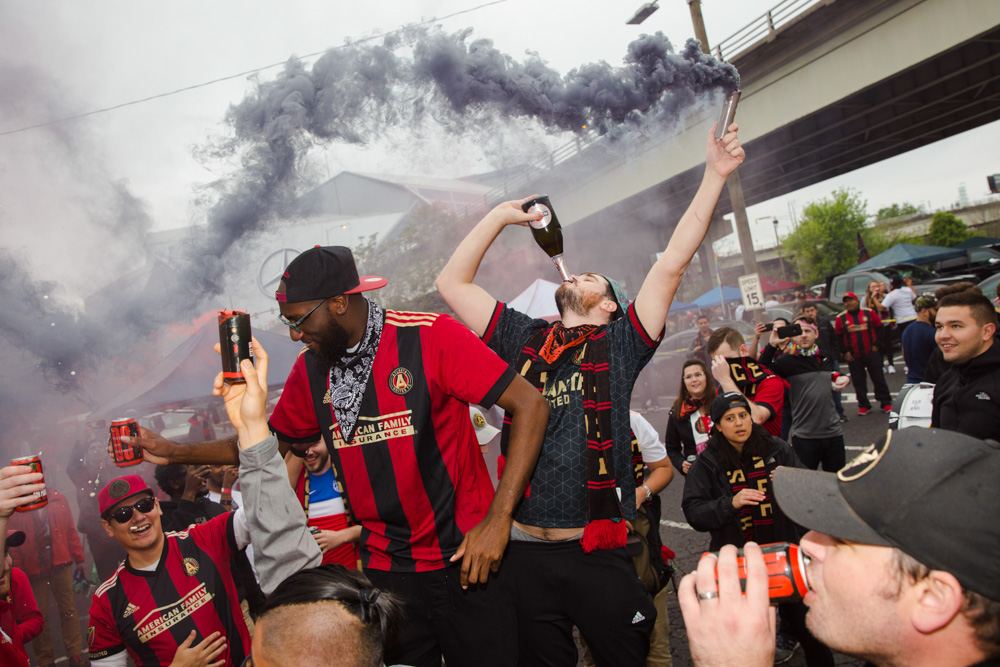 Fans partying in the gulch in downtown Atlanta.