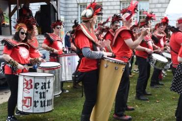 Various drums playing Samba music.