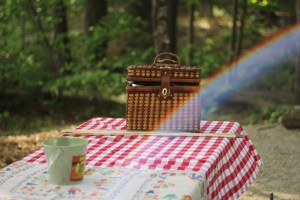 picnic with rainbow