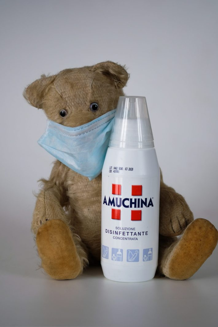 toy bear wearing a facemask