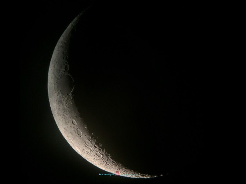The Crescent moon Luna, couple nights after New Moon.. the Waxing Gibbous begins..
