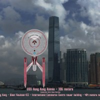 #AlreadyTomorrowInHongKong#香港 #西九龍  | #StarTrek | #SizeCompare #DiscoverHongKong  – with the #Starships classes that followed #USSEnterprise scale on Hong Kong's #VictoriaHarbour - #AGallery