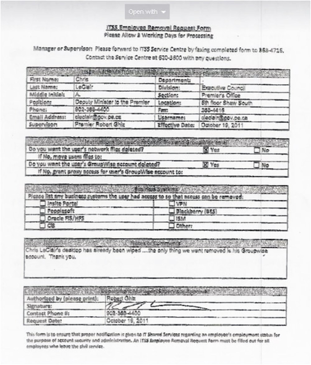 Tab 18 - Completed Employee Removal Form for Chris LeClair