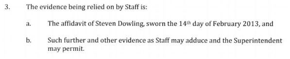 Dowling evidence