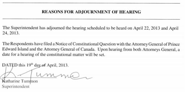 Reason for Adjournment of Hearing