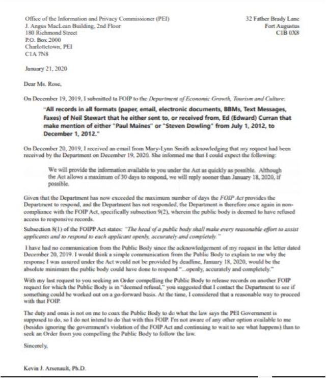 Letter to Karen Rose, January, 2020