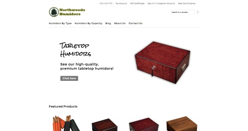 Classic Hip BigCommerce theme at Northwoods Humidors- header