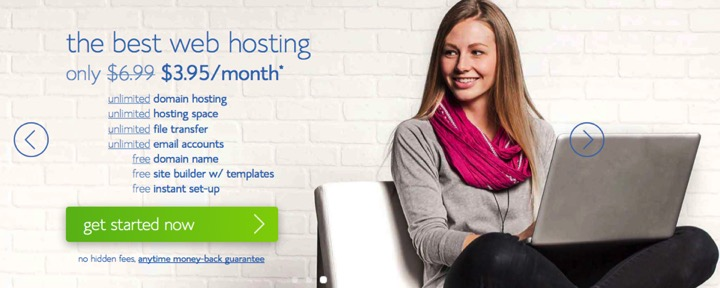image of Bluehost homepage
