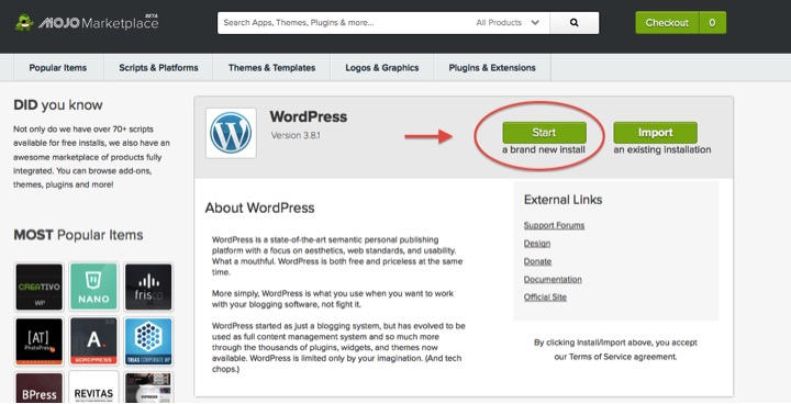 image of Start WordPress button in Bluehost