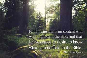 faith means that I am content with what I'm told in the Bible