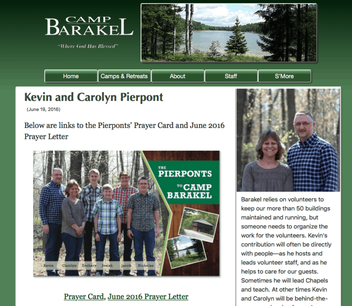 Camp Barakel Pierpont Staff page