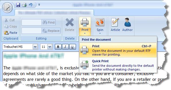 Print menu example
